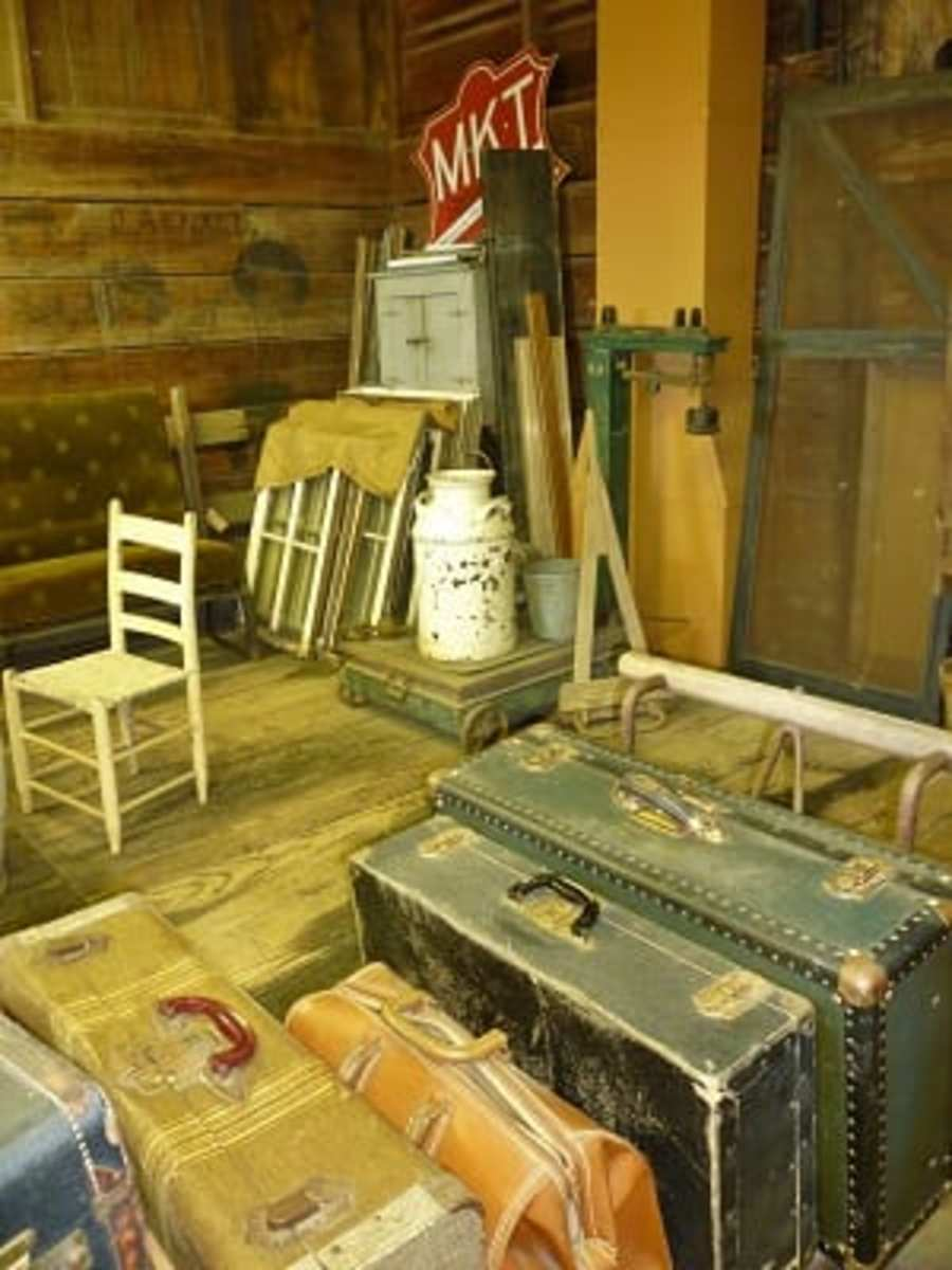 Old luggage & more inside delivery area of railroad station