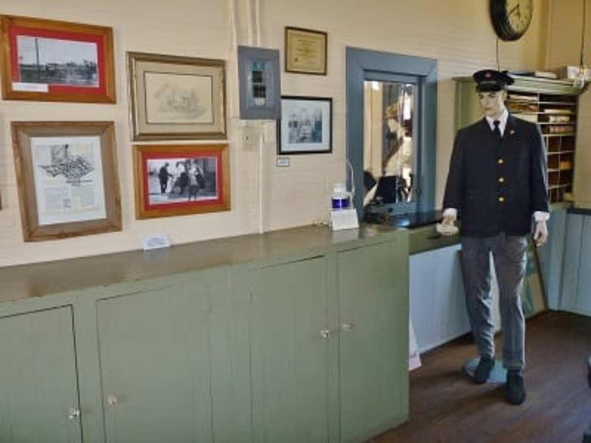 Mannequin dressed as station master