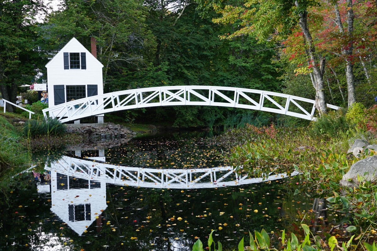 The reflection of the bridge and foliage in Somes Creek is stunning