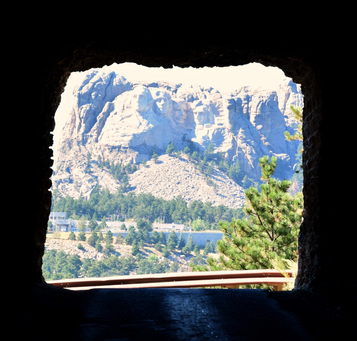 Mount Rushmore through a tunnel