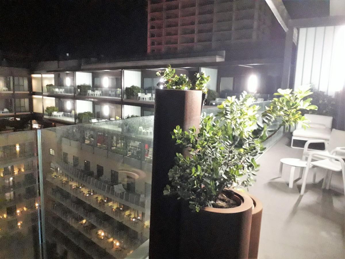 Balcony at night.