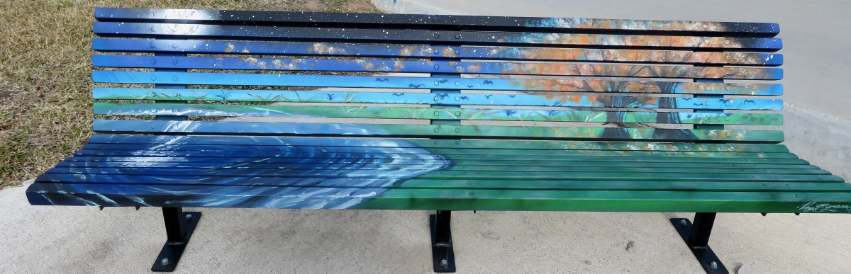 Beautifully Painted Art Bench in Rosenberg, Texas