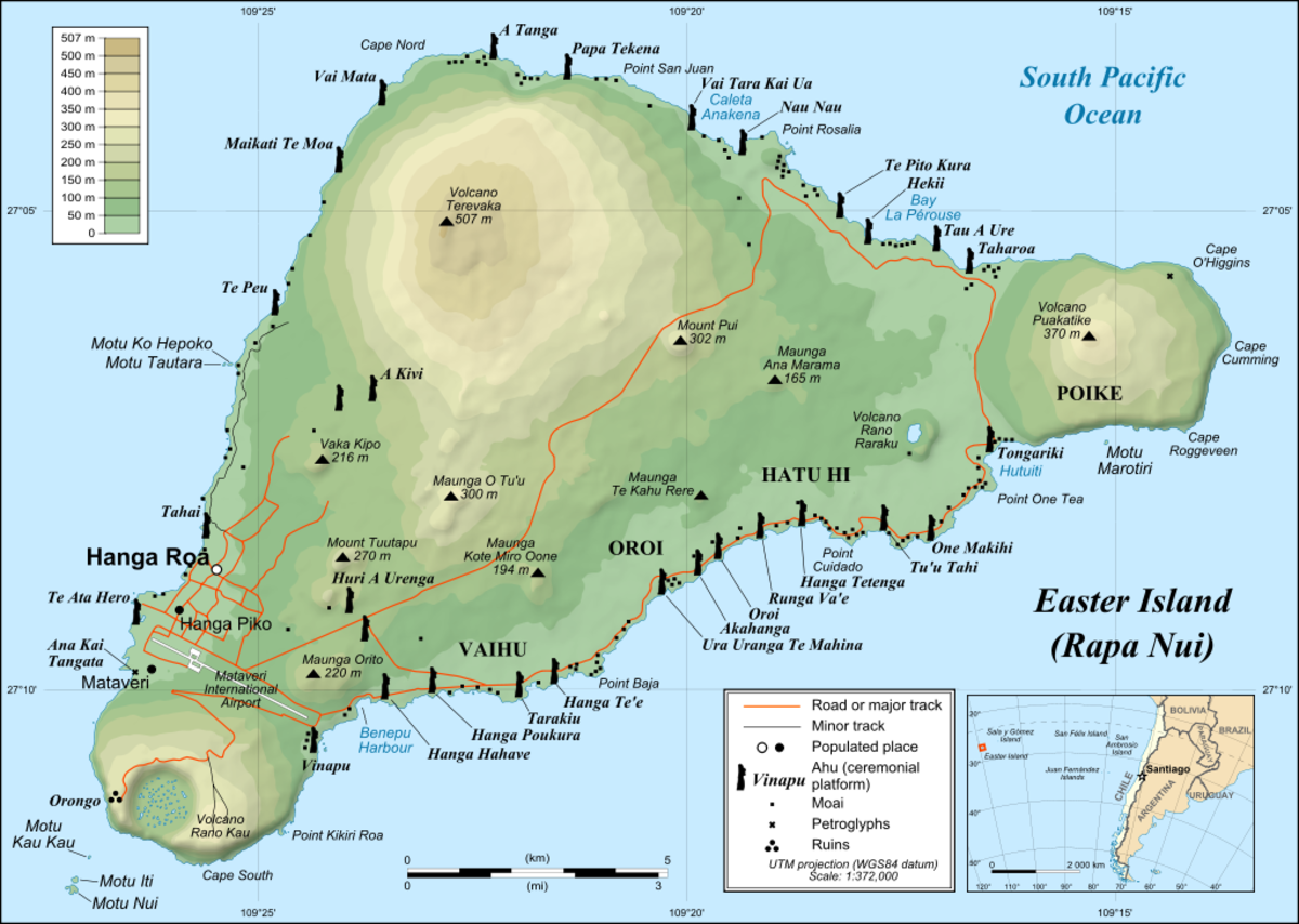 Modern map of Easter Island