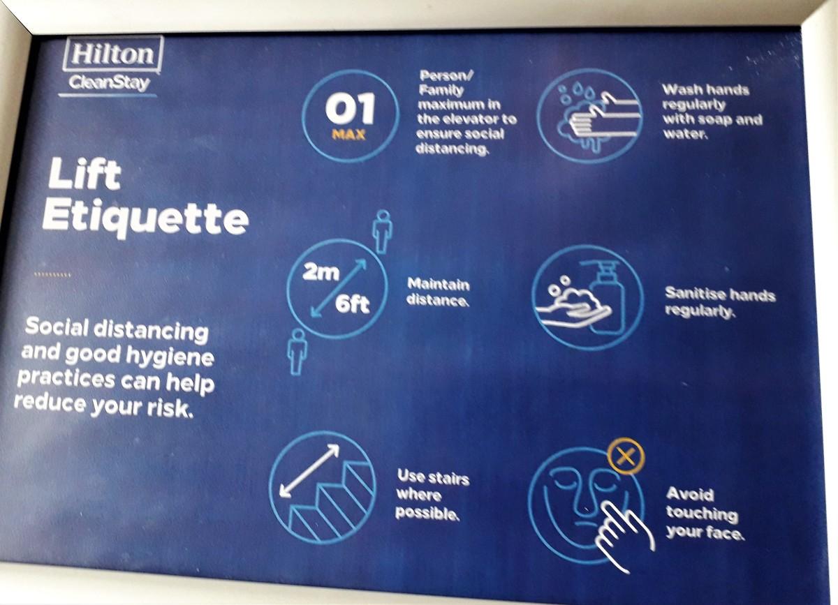 Lift etiquette, July 2020.