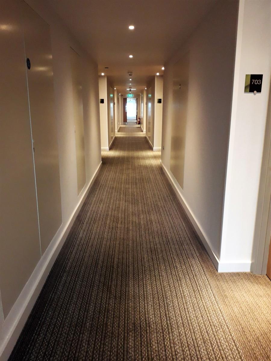 Corridor of Hilton Garden Inn Doncaster, October 2018.