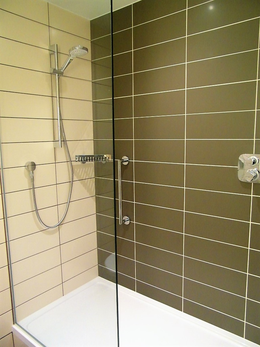 Modern walk-in shower.
