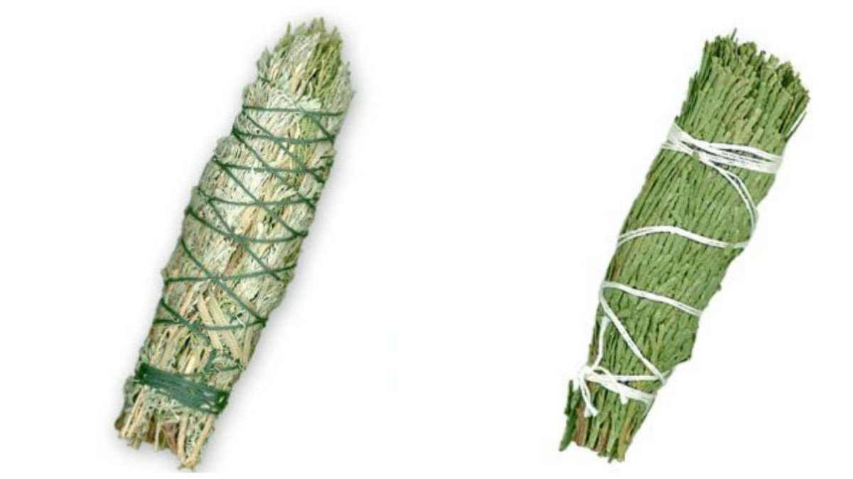 Sage smudge stick (l); red cedar smudge stick (r)