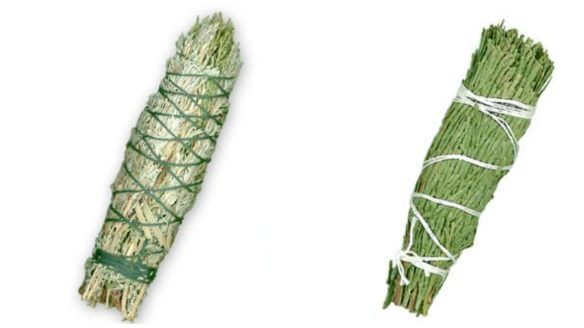 Sage smudge stick (l); red cedar smudge stick (r)