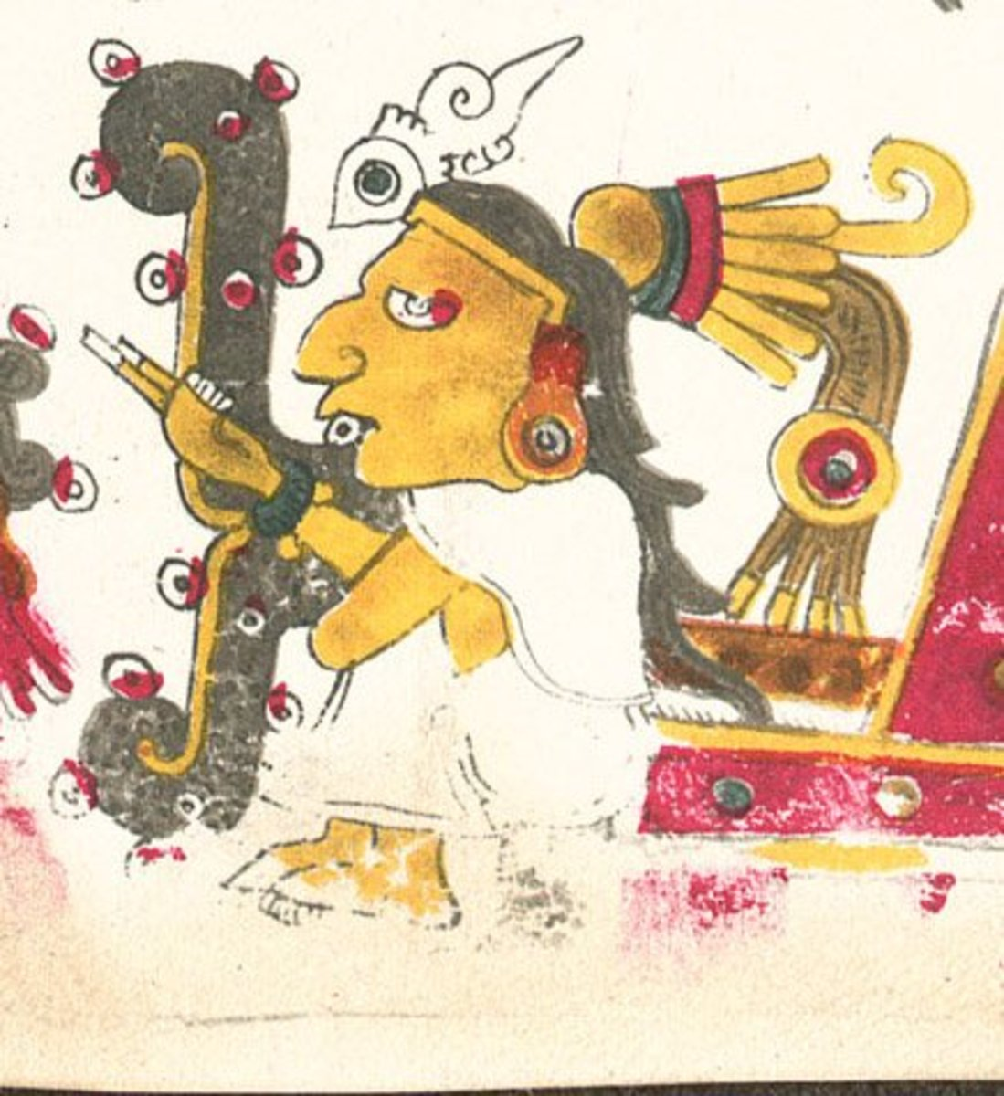 A drawing of Tecciztecatl from the Codex Borgia, an ancient Mesoamerican manuscript.