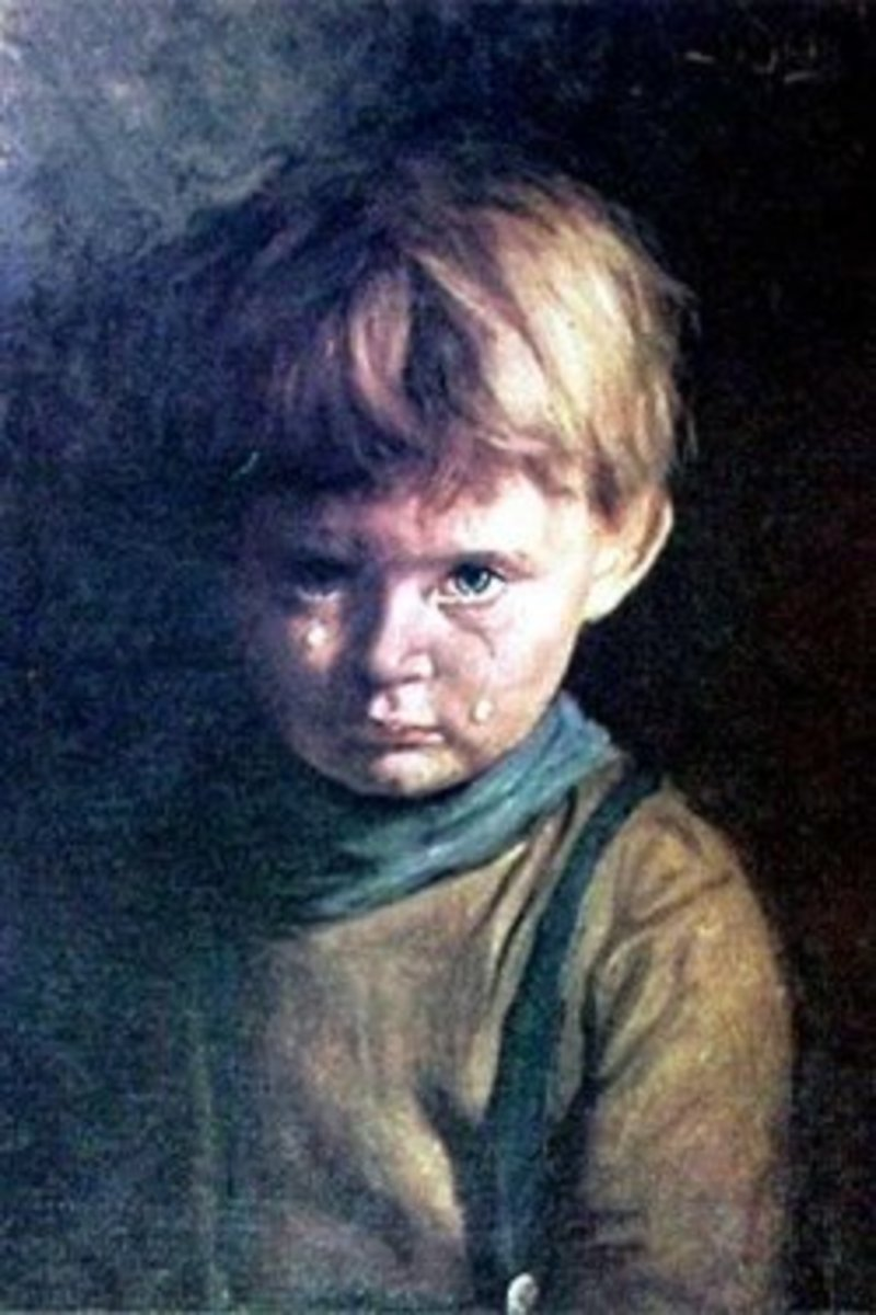 An example of a painting of a crying boy.