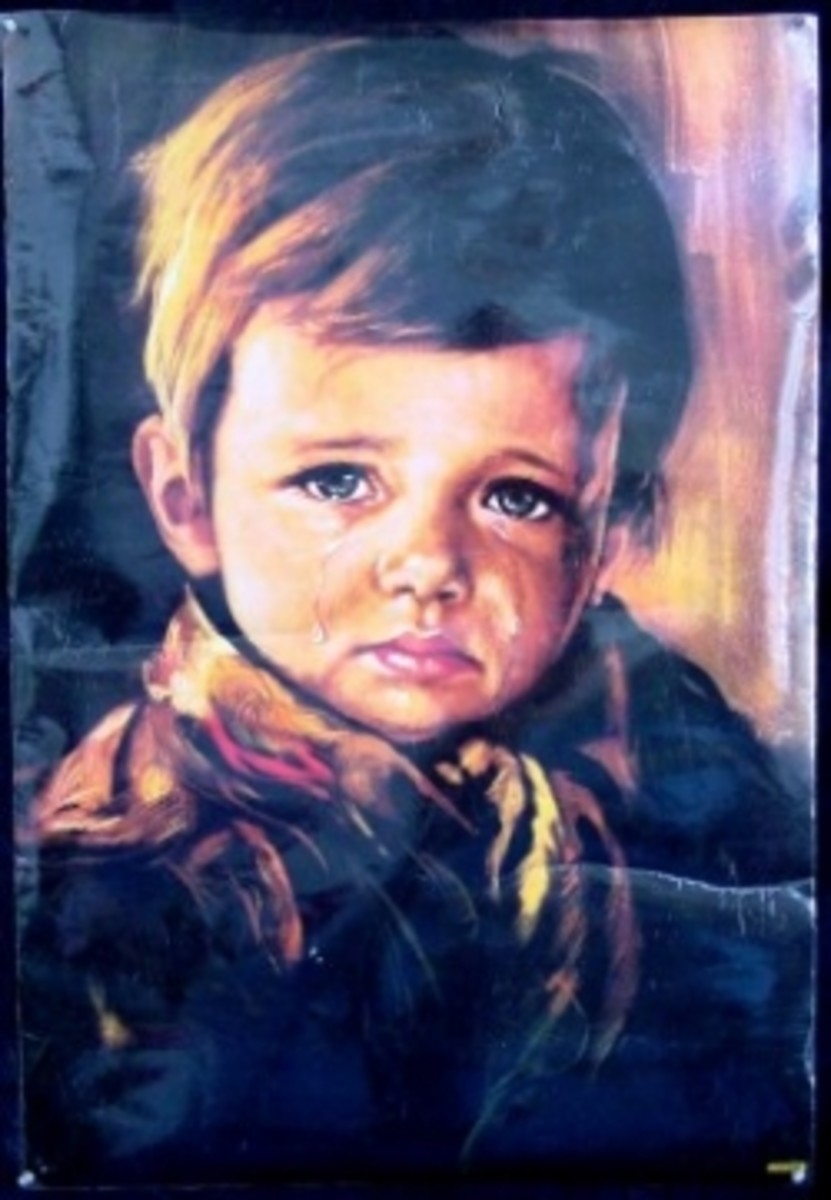 Another example of a crying boy painting.