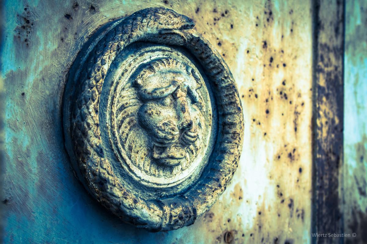 An Ouroboros symbol on a cemetery door.