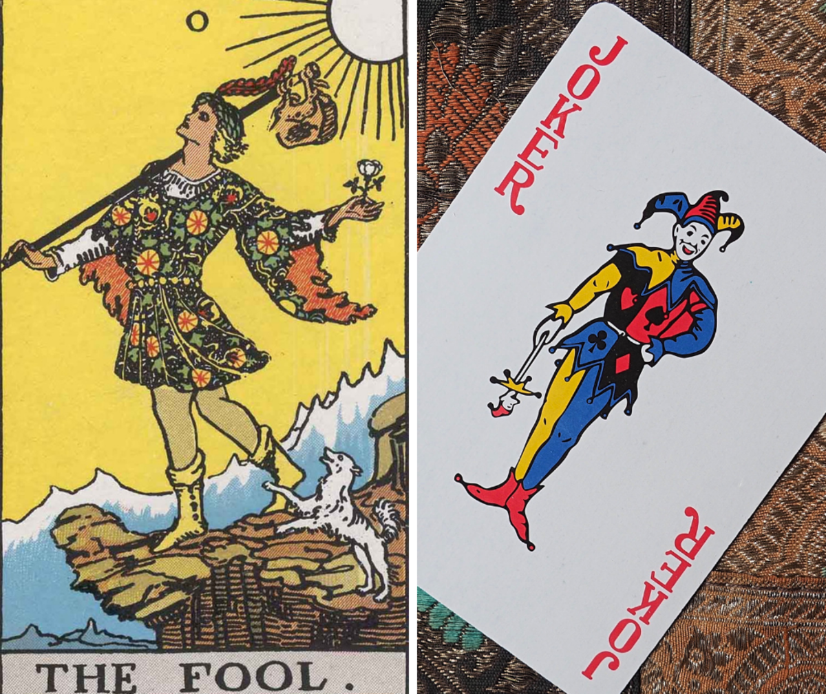 The Joker can be used to represent the Fool (this one from the 1909 Rider-Waite deck).