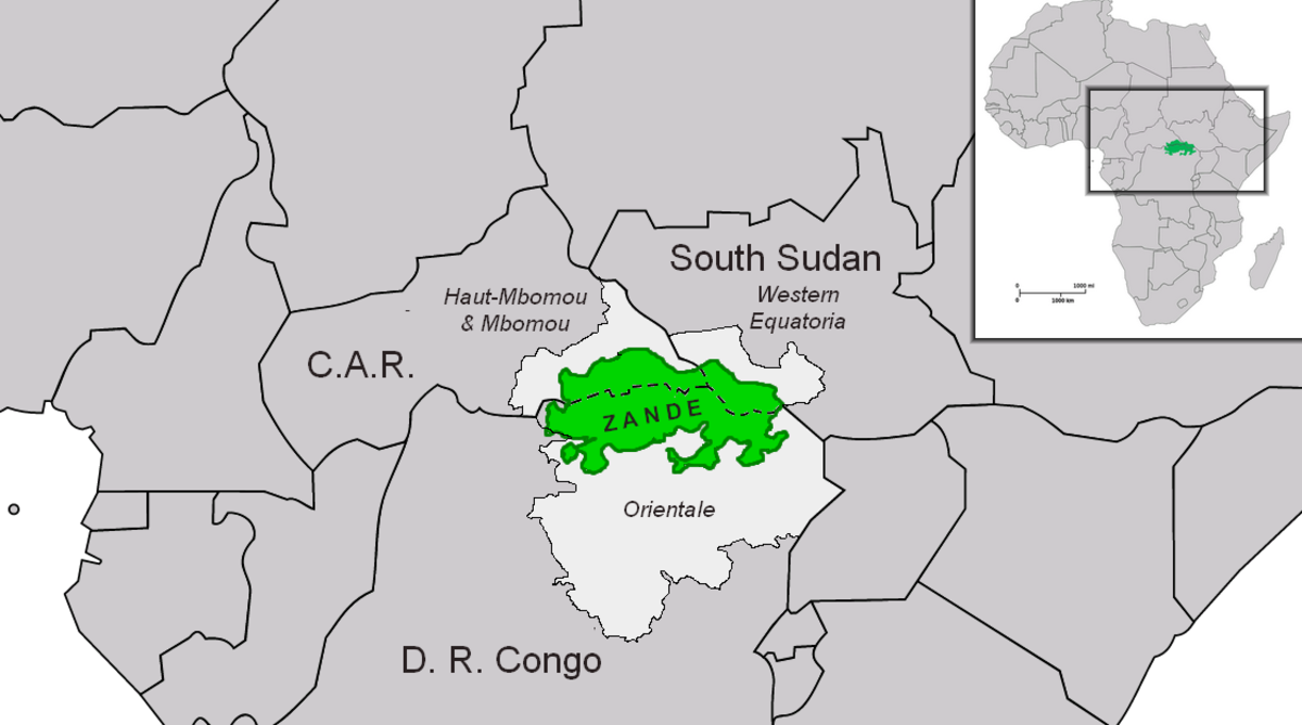 The location of Zandeland is between South Sudan and the Democratic Republic of the Congo.