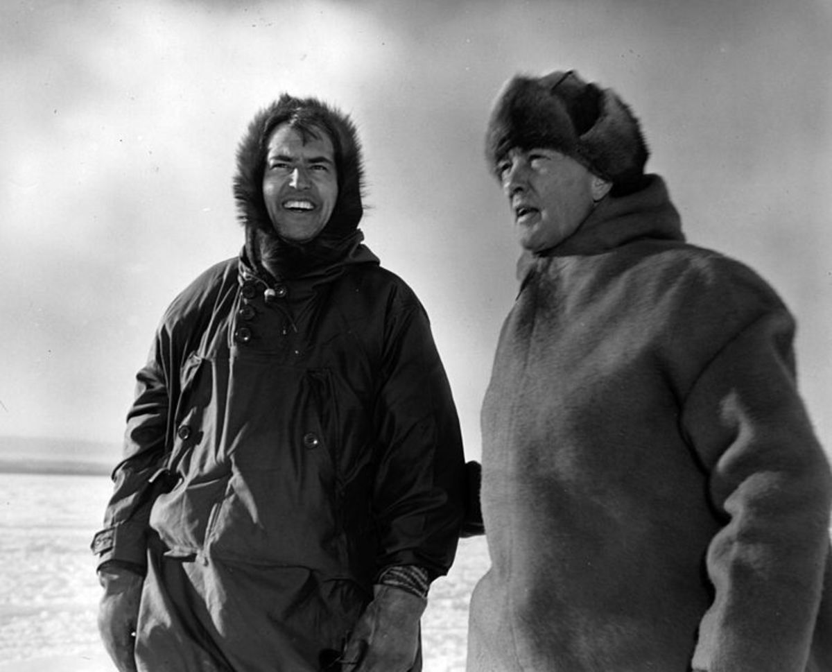 Admiral Byrd (right) with Dr. Paul Siple in the antarctic, 1947.
