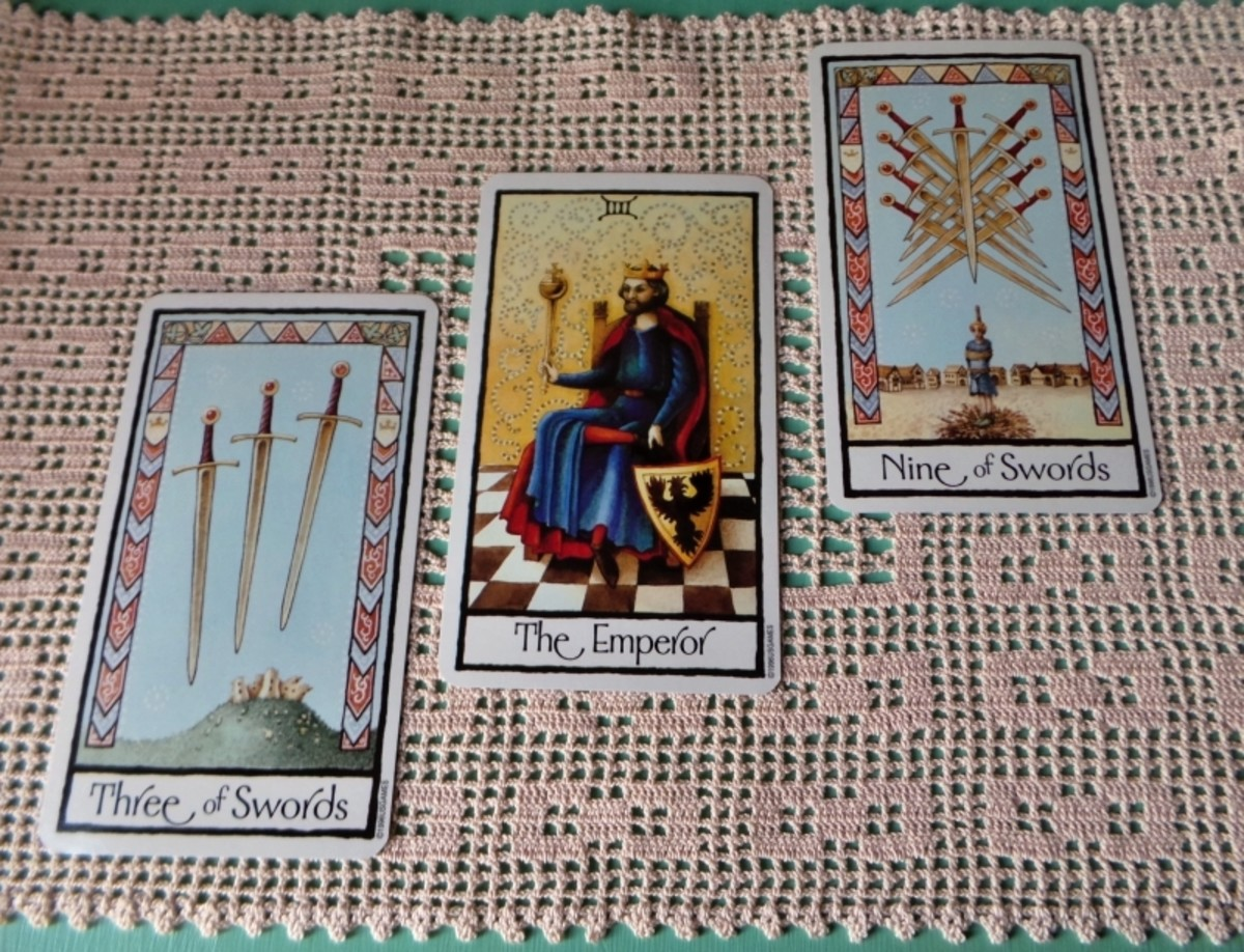 Three of Swords, The Emperor and Nine of Swords