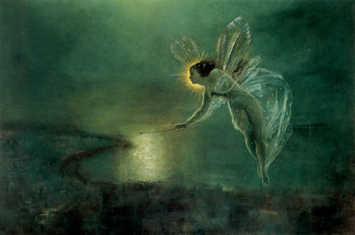 An artistic rendition of a fairy emitting her own light.