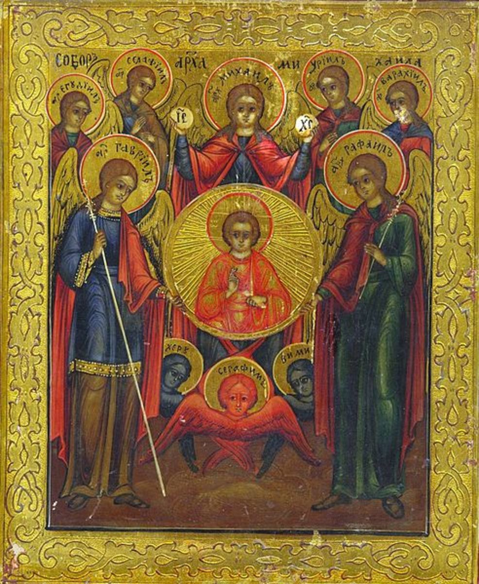 An example of orb-like halos in artwork of angels.