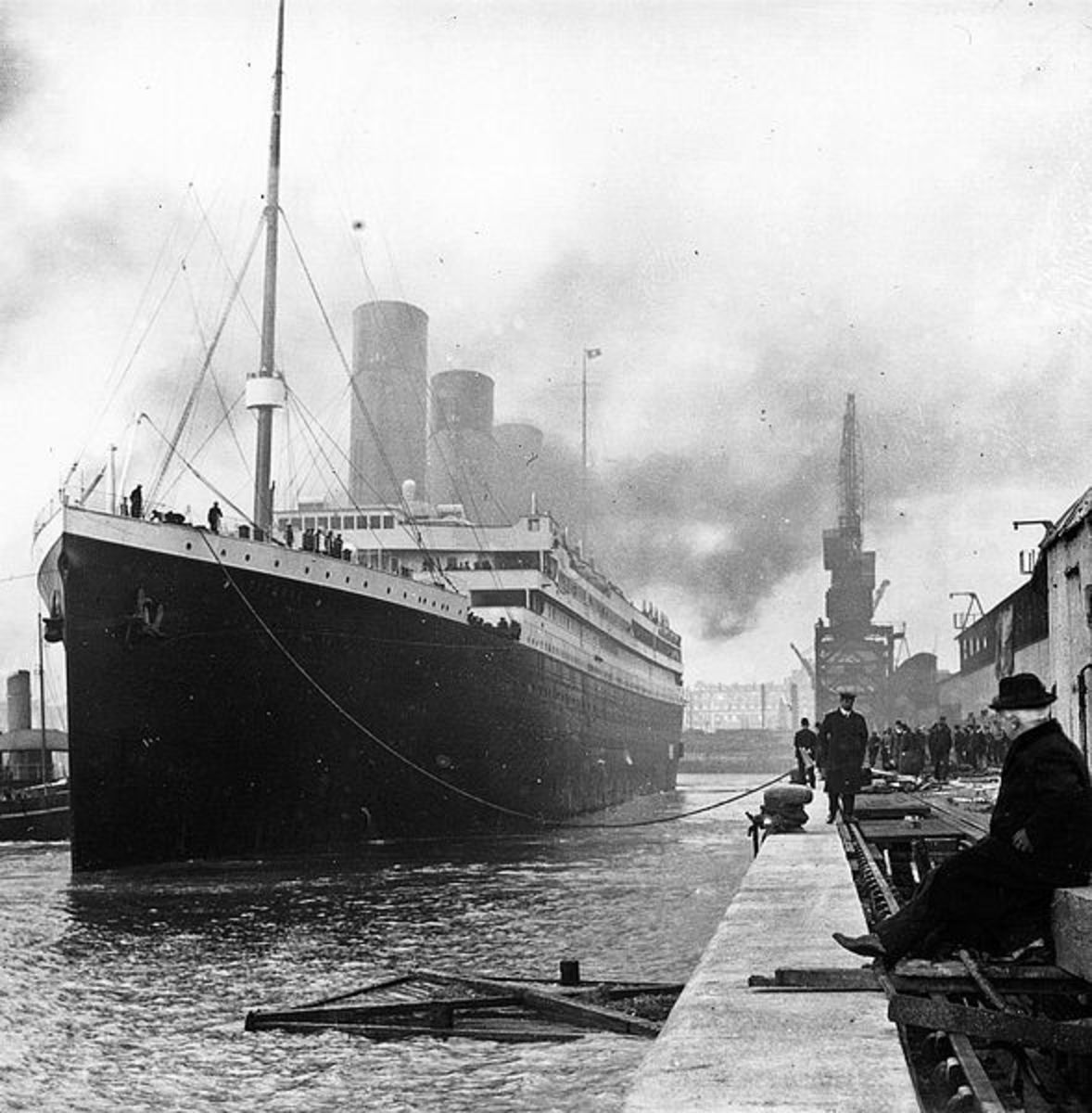 The Titanic docked before its ill-fated voyage.