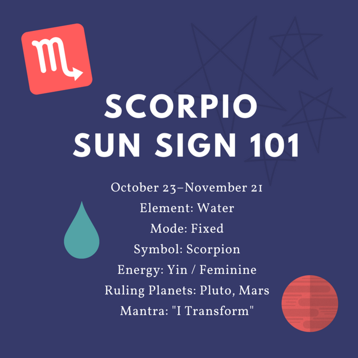 Scorpio is a fixed, feminine, water sign.