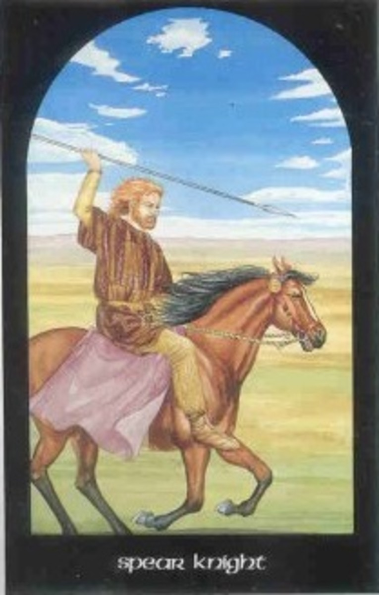 The Spear Knight (Knight of Wands) from the Arthurian deck by Caitlin Matthews.