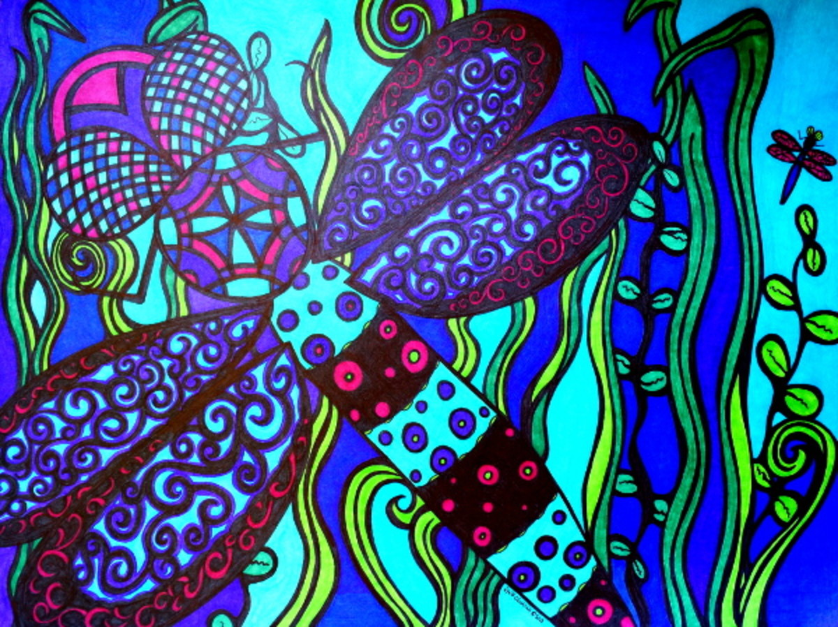 "This is an art drawing I completed of a dragonfly. It's Sharpie marker on paper, 18""x24,"" and completed 6/2013."
