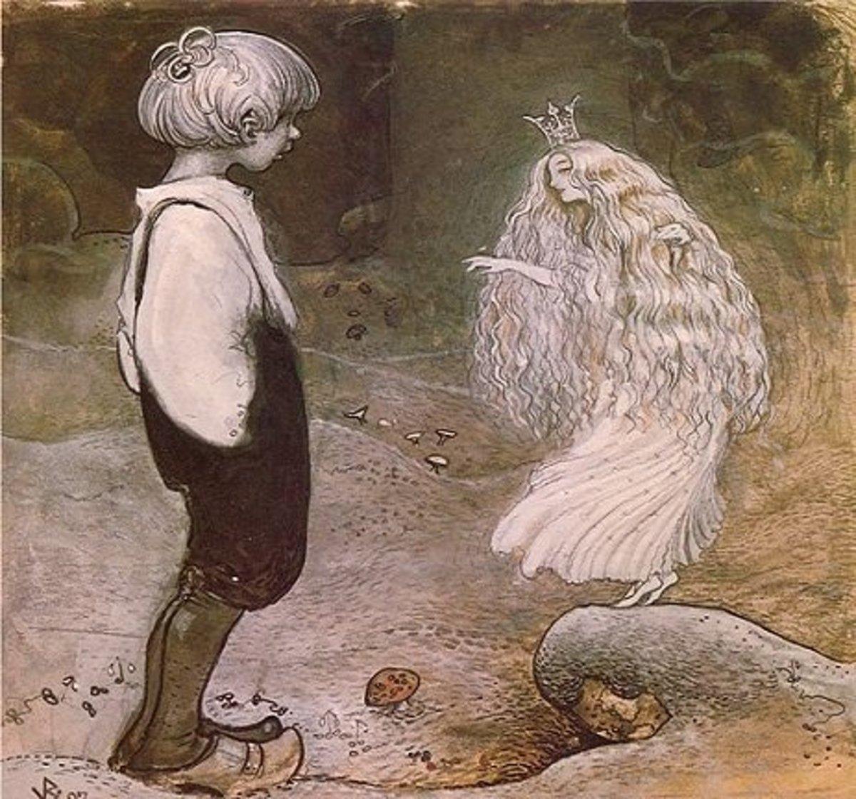 A human boy speaks with an Elven princess.