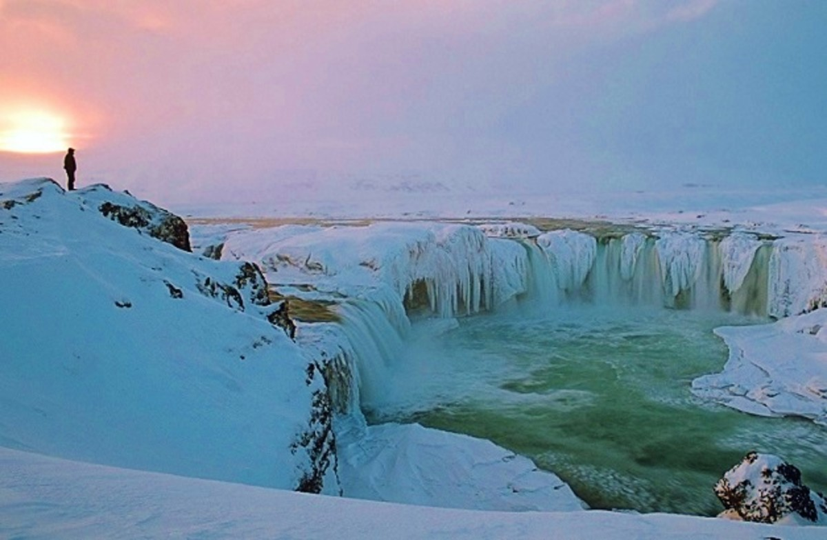 Sunset at Goðafoss in Winter, Iceland.