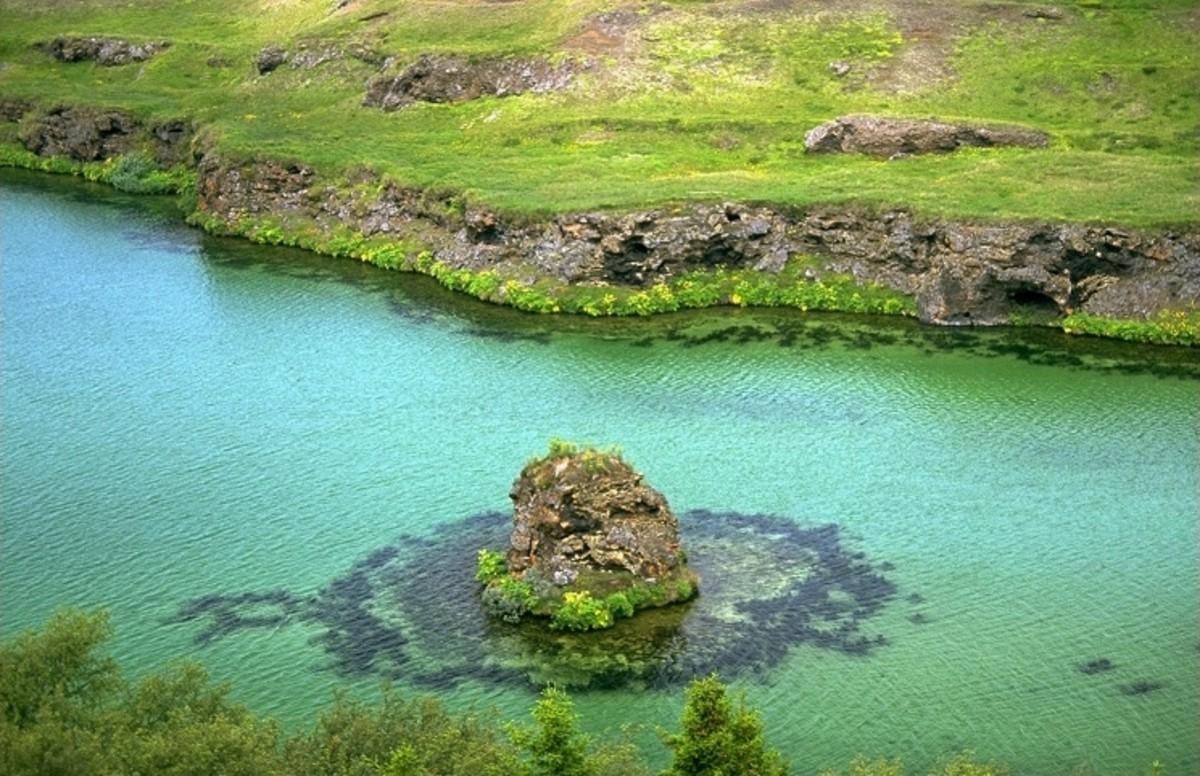 Lava island in Lake Mývatn, Iceland.