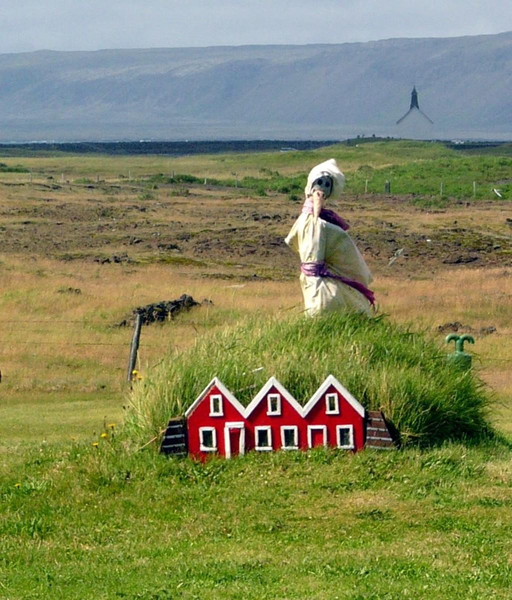 Elf houses near Strandakirkja in south Iceland.