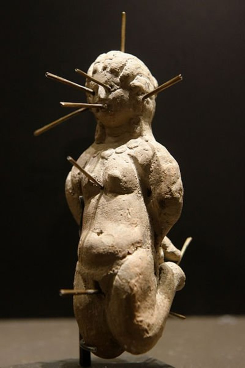 This 4th century doll was found in a terracotta jug with a tablet that bore a binding spell. This is known as 'sympathetic magic' - the doll is linked to the person on whom you cast the spell.
