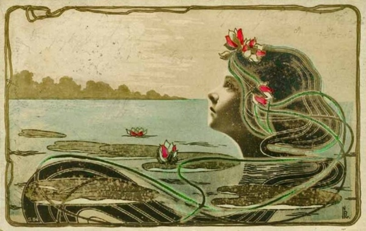 Vintage postcard in the Art Nouveau style, circa 1903