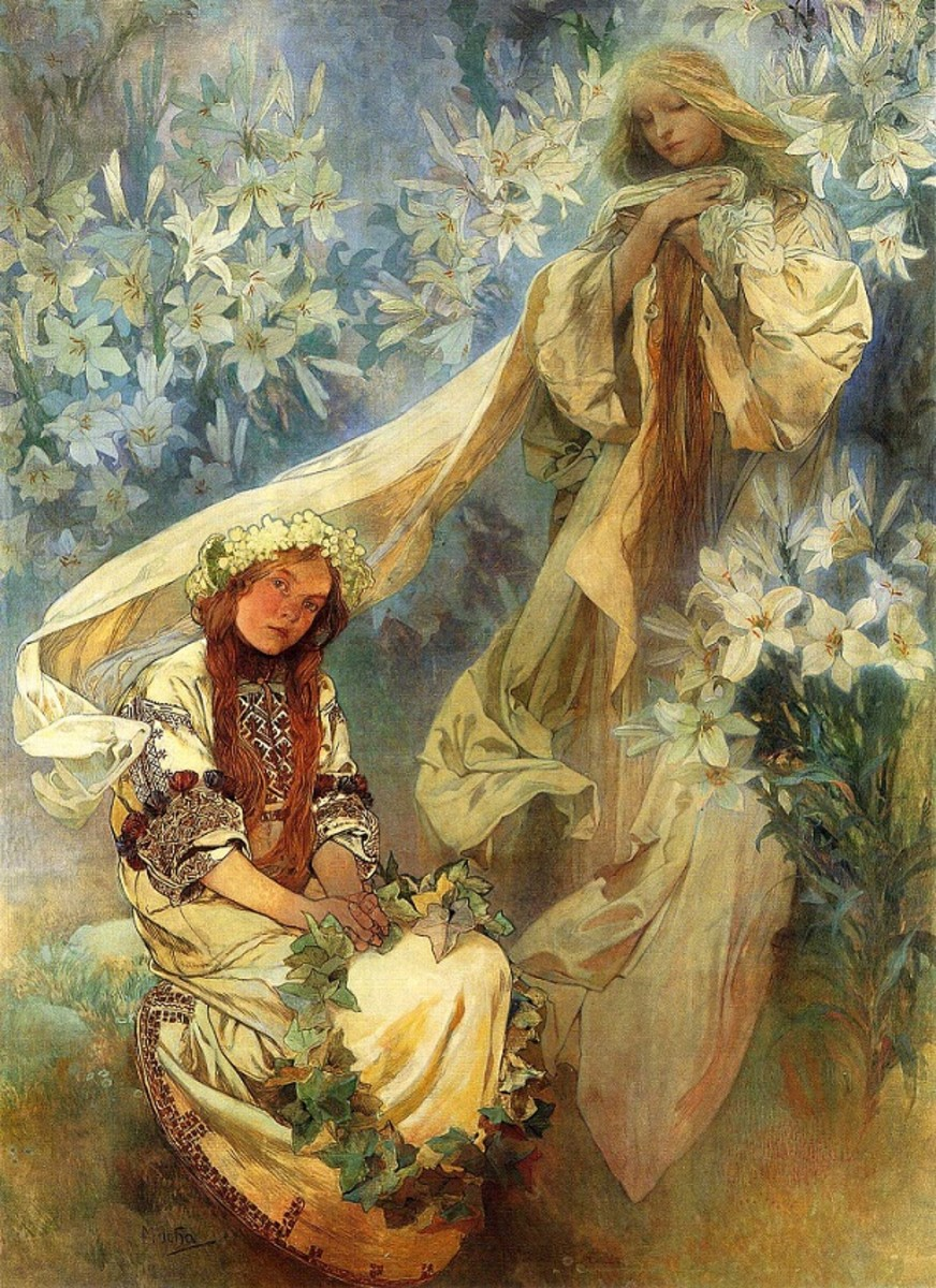 Madonna of the Lillies by Alphonse Mucha, 1905