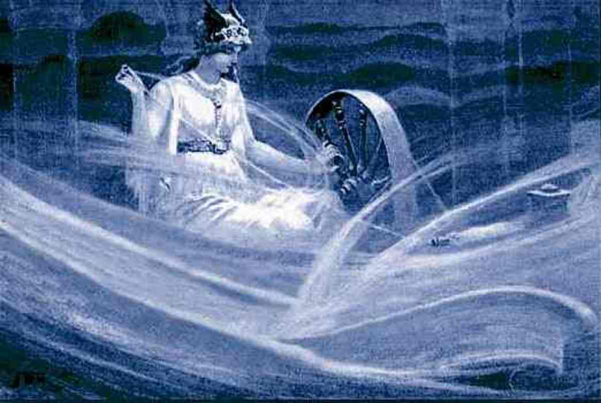 Frigga Spinning the Clouds, by John Charles Dollman, 1909