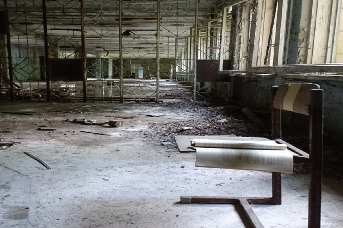 An abandoned schoolhouse in Pripyat.