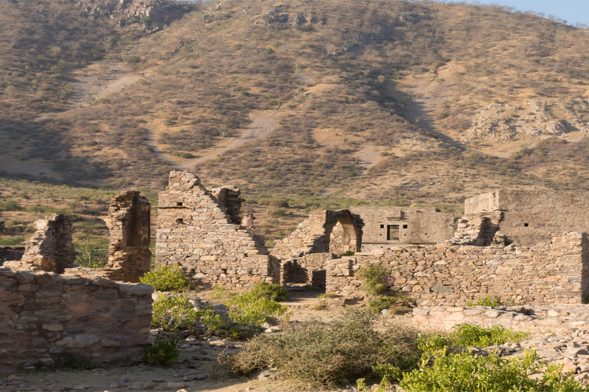 An eerie silence falls over the ruins of Bhangarh Fort, where no travellers are allowed to enter after dark.