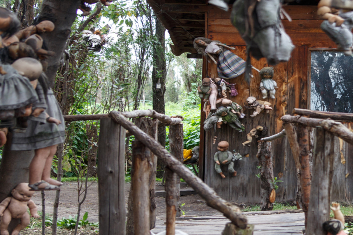 Don Julian Santana became obsessed with collecting discarded dolls, to the point where intricate patterns of dolls covered the island.