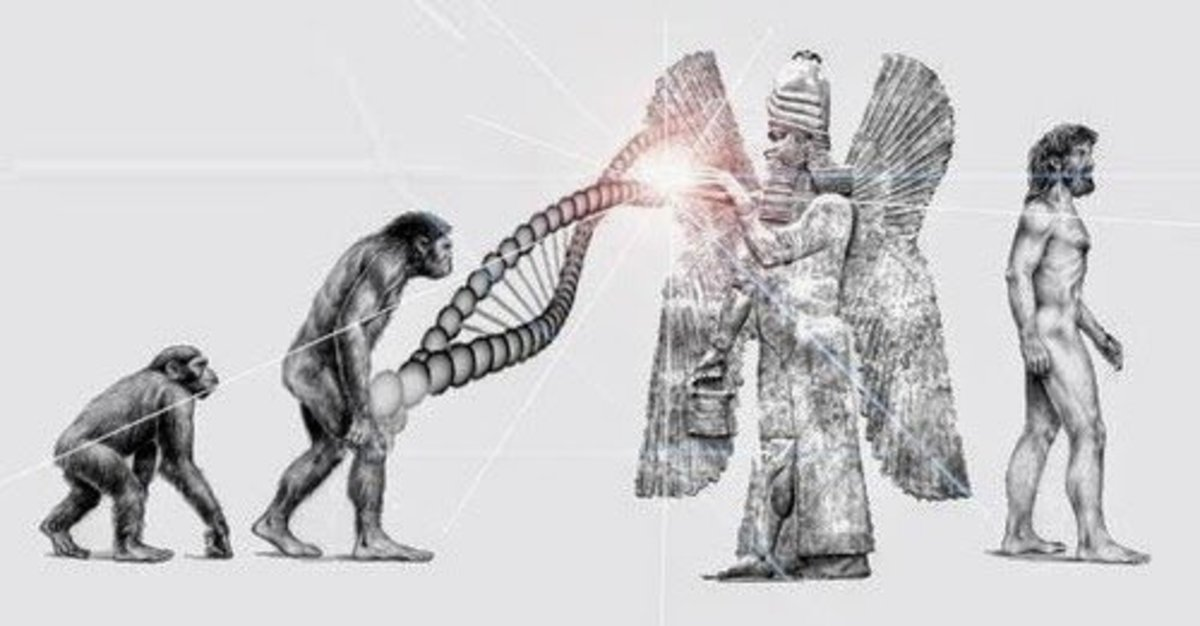 Illustration of Anunnaki god, Enki, creating mankind through DNA manipulation.