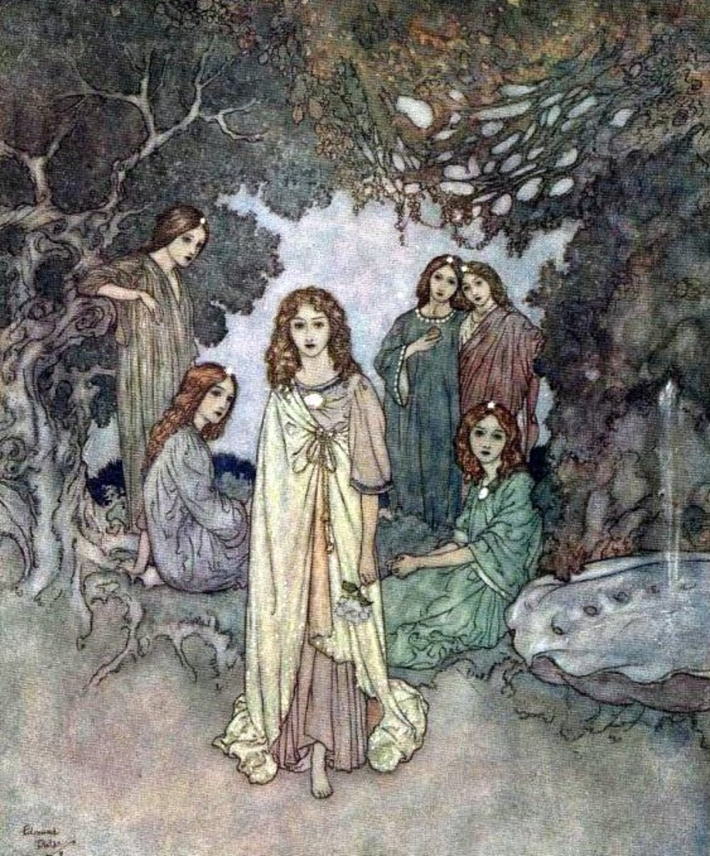 """The Fairy of the Garden"" by Edmund Dulac - Illustration for Hans Christian Anderson's ""The Garden of Paradise"""