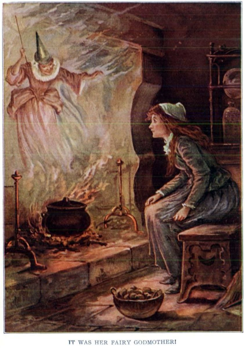 Fairy in the flames, illustration from Childhood's Favorites and Fairy Stories, 1917