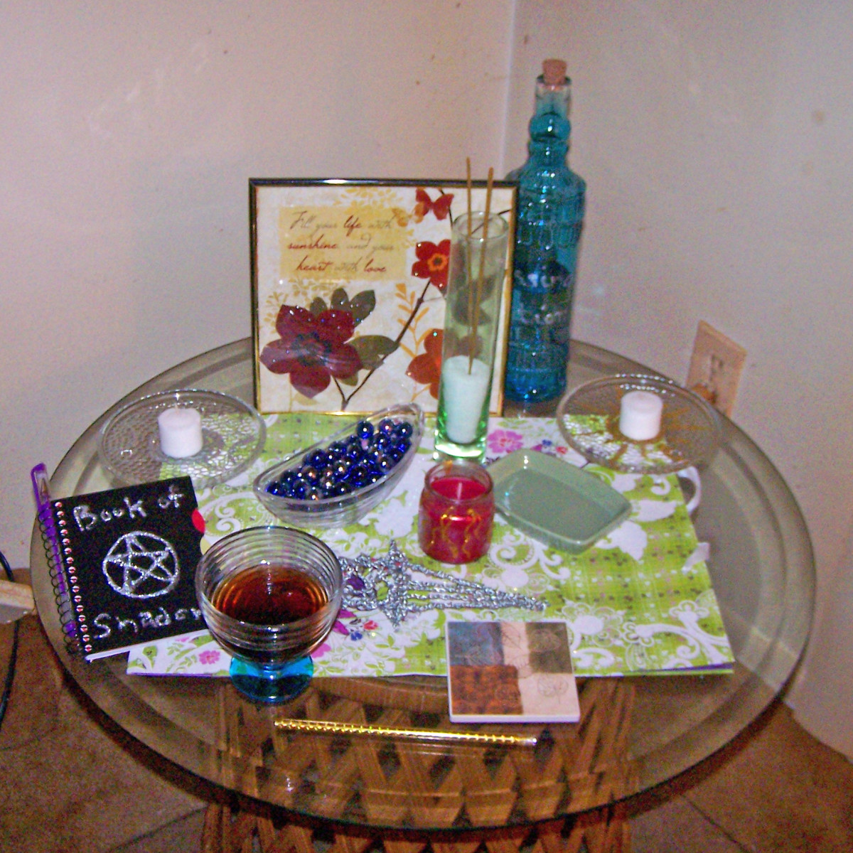 A perfectly serviceable altar for a budget of $20. This would be a fine starter altar for anyone-- and you can build on it, improve it, add to it, etc. for years to come.
