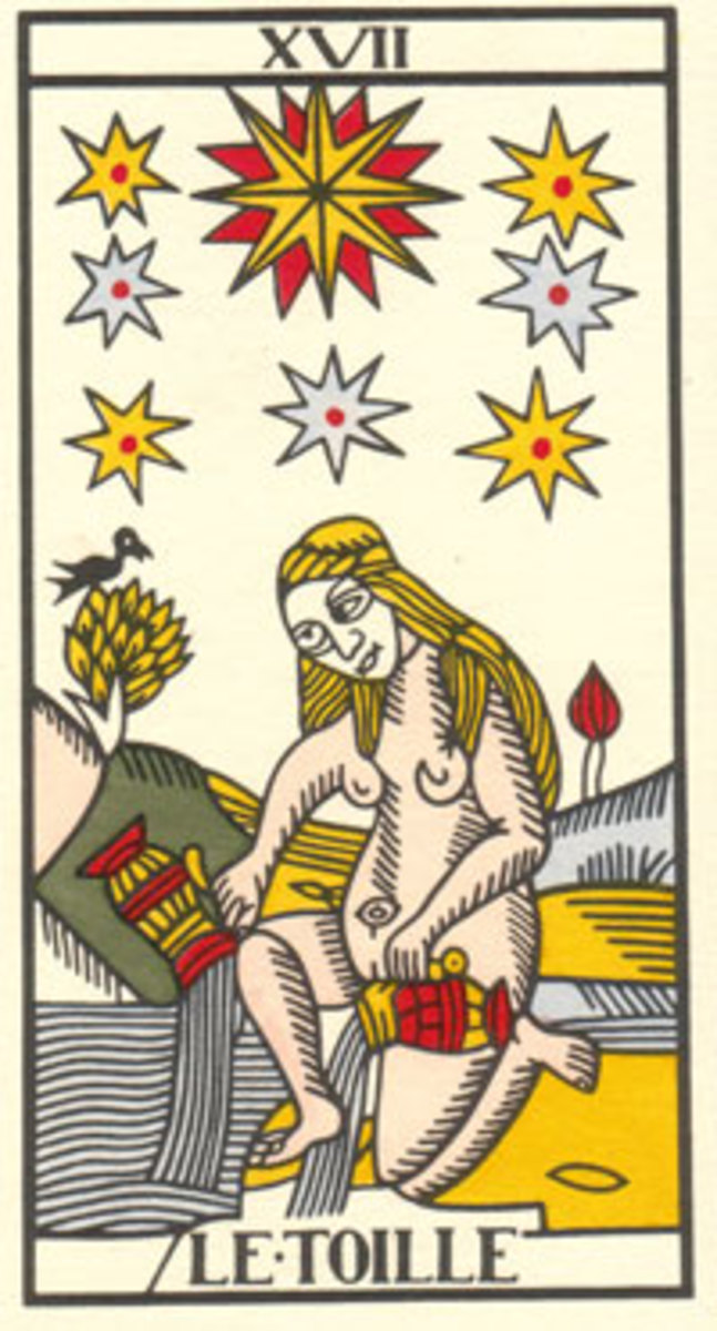 """The Star,"" pregnant and portending ""favorable events"" (duh!) from the Dodal version of the eerie Marseille Tarot deck (1790), the one used in Maria's computerized readings."