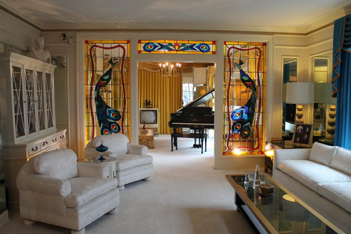 Elvis' original living room at Graceland.
