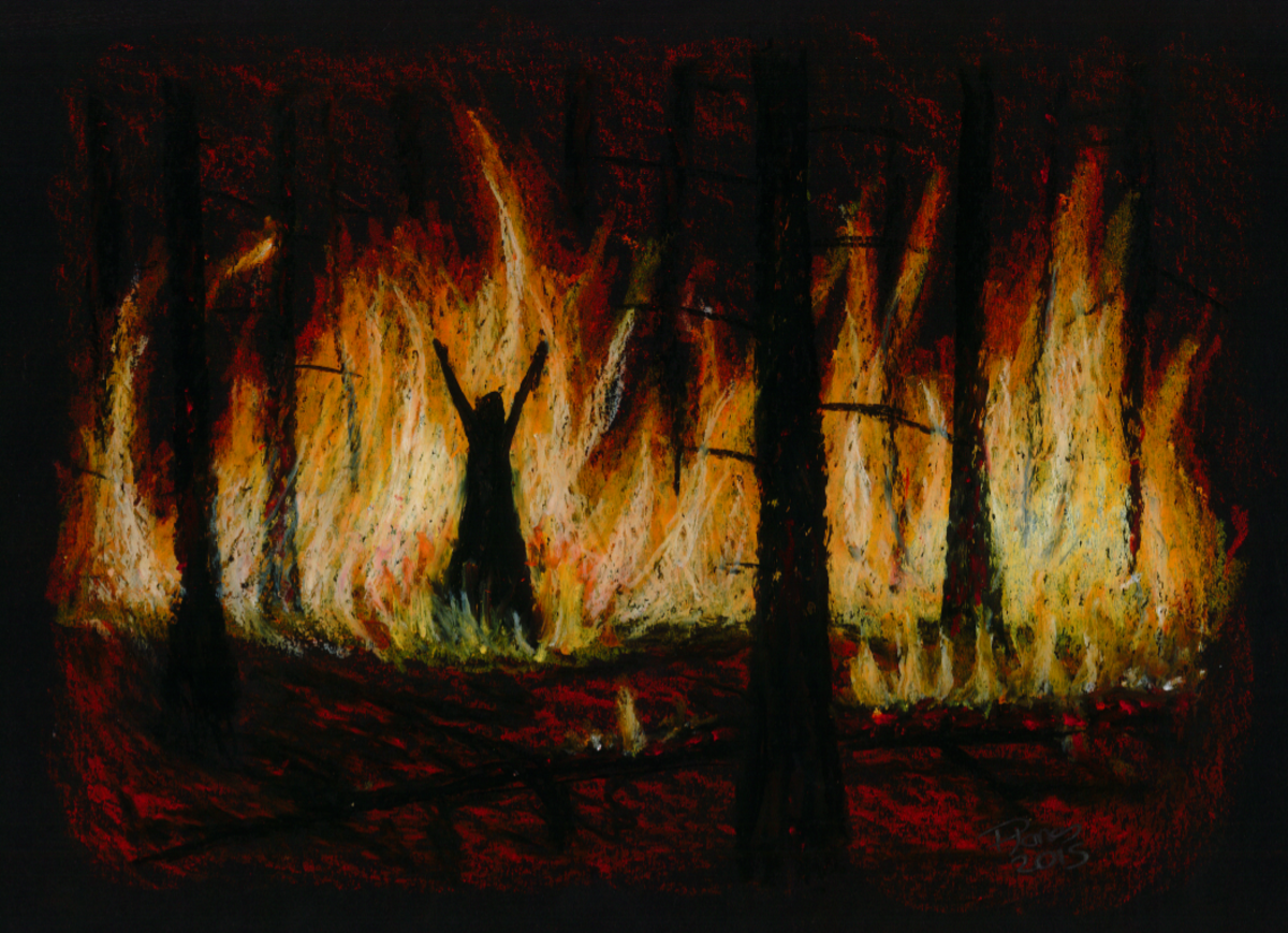 Pitch Pine sets the forest alight. From the Norse King's Daughter.