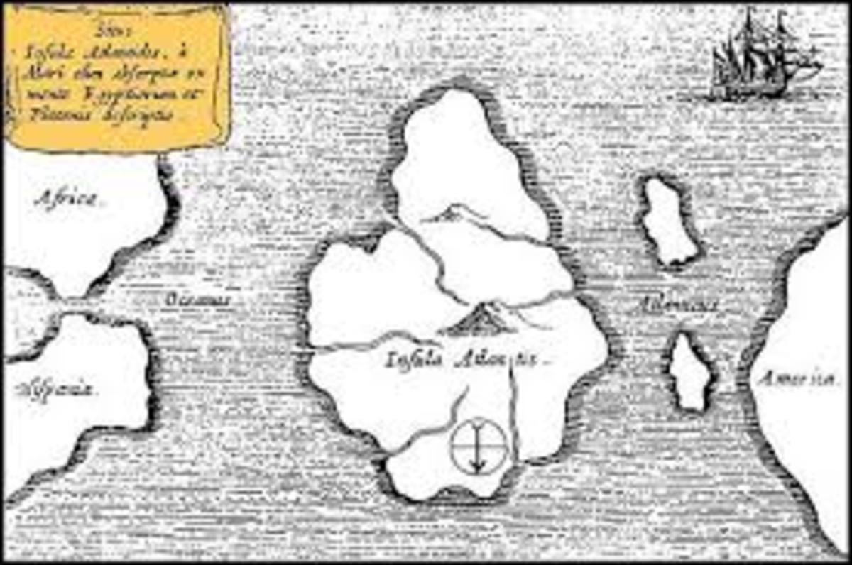 An ancient map showing the location of Atlantis.