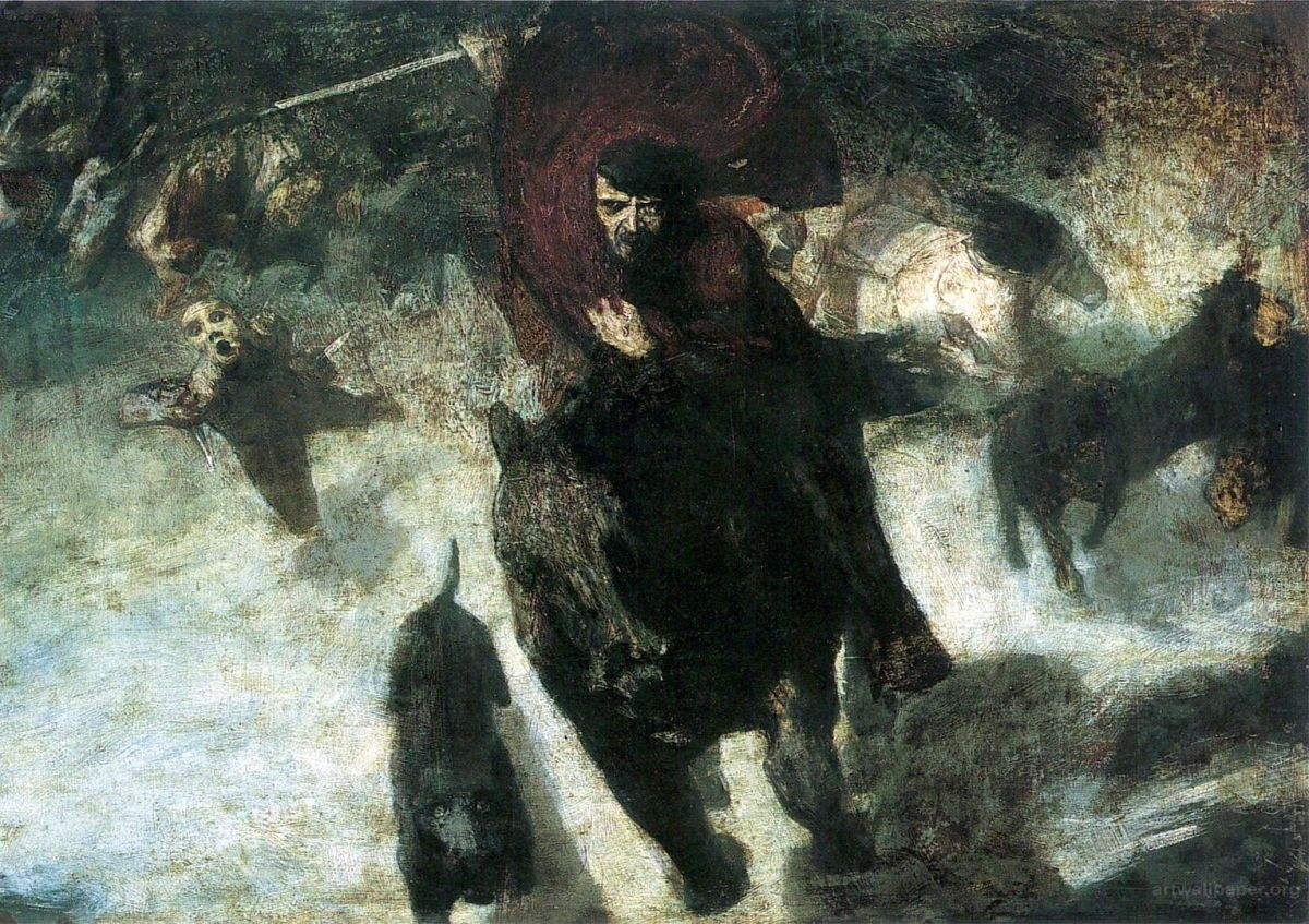 "A depiction of ""The Wild Hunt"" that includes a black dog running beside Wotan (Odin) on horseback. By Franz von Stuck, 1889"
