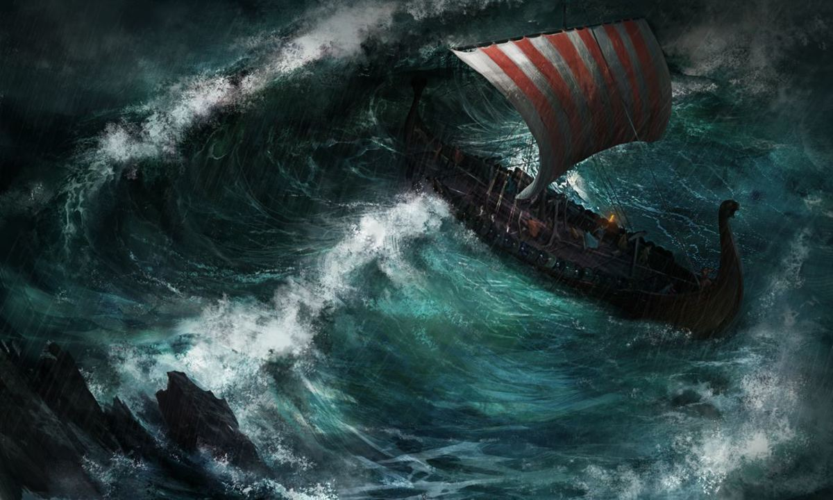 "In this piece entitled ""Vikings"", a ship of Norsemen battle through a storm at sea."