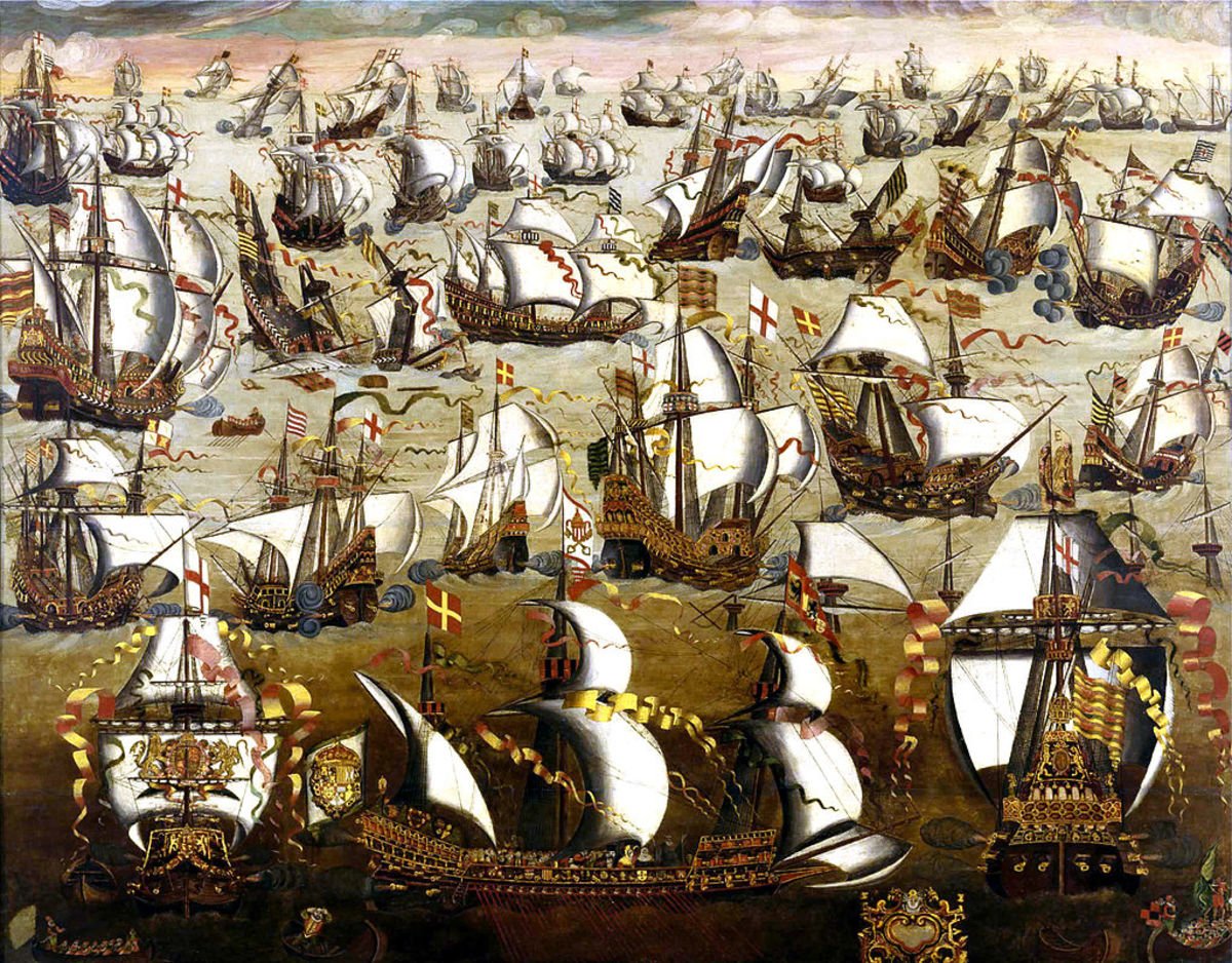 """The Spanish Armada and English Ships in August, 1588"", artist unknown."