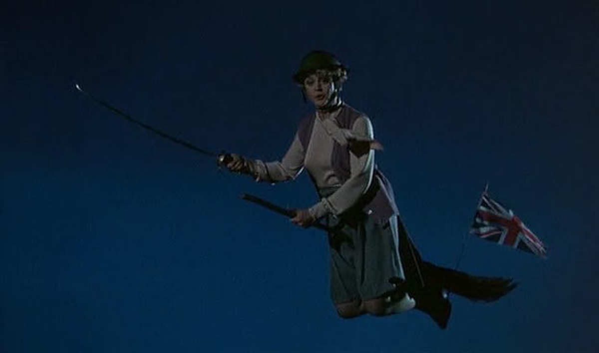 Angela Lansbury as Miss Price, leading a spectral host of warriors to battle, defending Britain from invading foes!