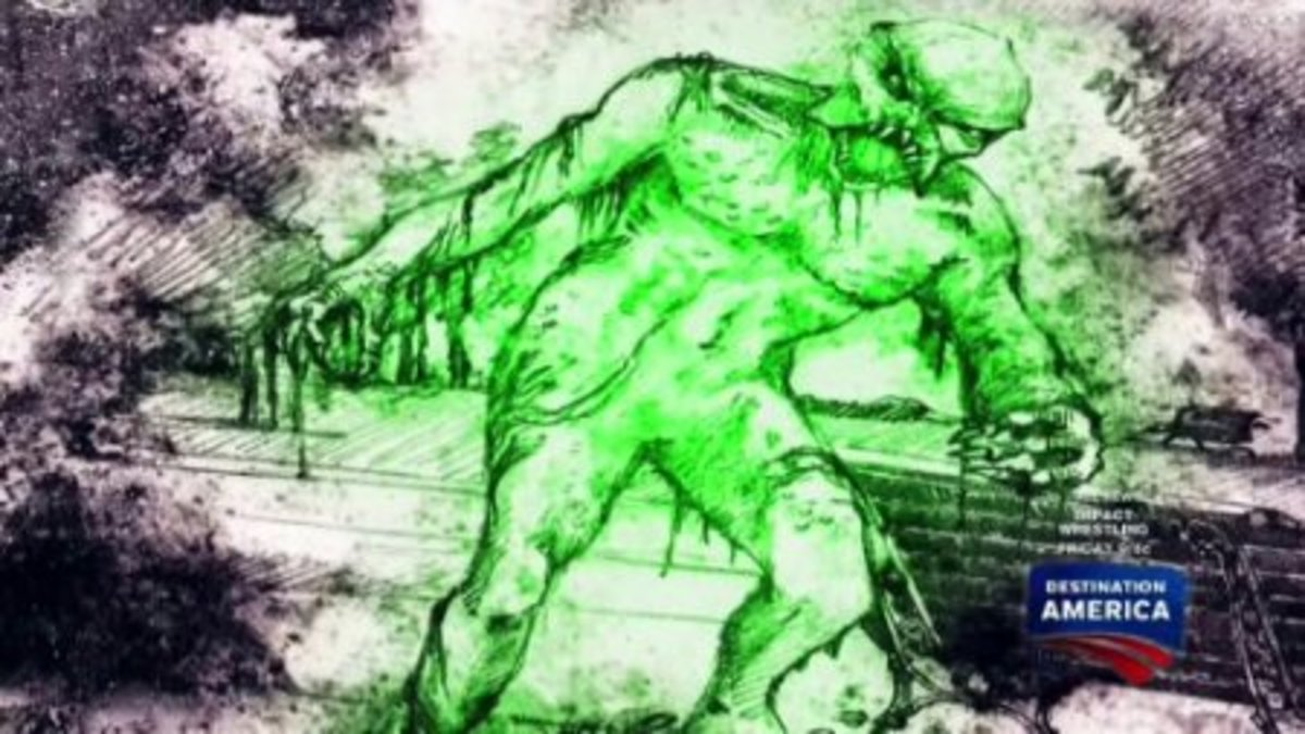 Depiction of the Mill Race Monster as shown on the Monsters and Mysteries in America segment.